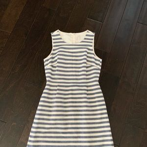 J. Crew Factory Navy Striped Cotton Shift Dress